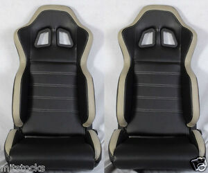 New 2 Black Gray Pvc Leather Racing Seats Slider Reclinable All Ford Mustang