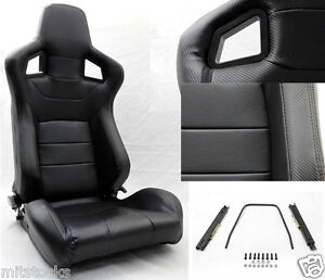 New 2 Black Pvc Leather Carbon Look Trim Racing Seat Reclinable Ford Mustang
