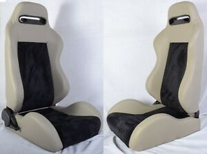 New 2 Gray Black Racing Seats Reclinable W Slider Fit For Subaru
