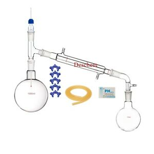 1000ml 24 40 glass Distillation Apparatus new Lab Vacuum Distill Glassware Kit