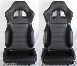 New 2 Black Pvc Leather Racing Seats Slider Reclinable All Toyota