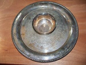 Vintage Wm A Roger By Oneida Silversmiths 15 Platter Wiit Attached Bowl