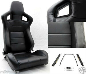 2 Black Pvc Leather Carbon Look Trim Racing Seat Reclinable Slider Buick