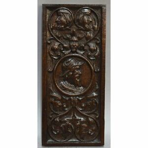 Antique 18th Century English Carved Oak Figural Salvaged Panel Nobleman