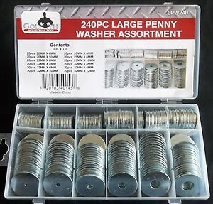 240pc Goliath Industrial Large Penny Fender Washer Assortment Lpw240 Nut Bolt