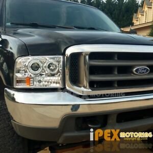 New 1999 2004 Ford F250 F350 Super Duty Halo Led Projector Headlights Chrome