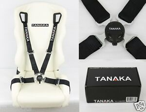 Tanaka Universal Black 4 Point Camlock Quick Release Racing Seat Belt Harness 2