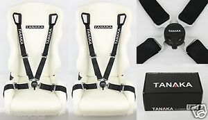 2x Tanaka Universal Black 4 Point Camlock Quick Release Racing Seat Belt Harness