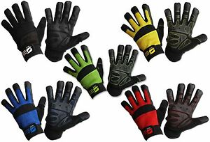 Mechanics Work Gloves Safety Synthetic Leather Grip Air Mesh Washable Gardening