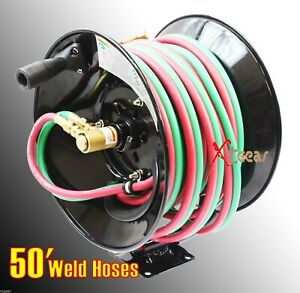 300psi 50 Manual Twin Oxy Acetylene Welding Hose Reel Mount 50ft Weld Hoses