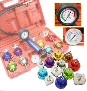 Universal 14pc Radiator Pressure Cooling System Tester Head Gasket Water Tank