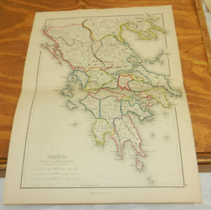1861 Antique Color Map Graecia Greece Epirus Thessalia Classical