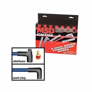 Msd Spark Plug Wires Spiral Core 8 5mm Red 90 Deg Boots Universal V8 Set 31229