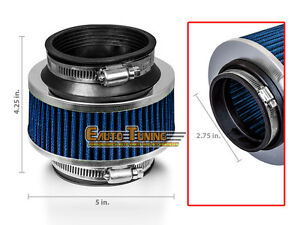 2 75 Inlet Cold Air Intake Universal Bypass Valve Filter Blue For Mitsubishi
