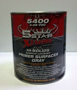 5 Star Xtreme Hi solids Acrylic Lacquer Primer Surfacer Gray gallon