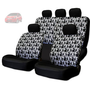 For Honda New Cool Skull Design Front And Rear Car Seat Covers Set