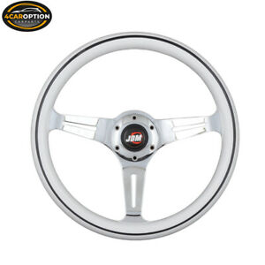 350mm Steering Wheel Wood Grain Sport White Ring Black Line Three Silver Spoke