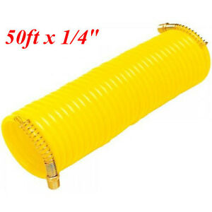50ft X 1 4 Recoil Air Hose Re Coil Spring Ends Pneumatic Compressor Tool 200psi