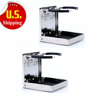 Sold By Pair Stainless Adjustable Folding Drink Holders Marine boat caravan car