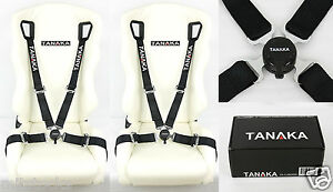 2 Tanaka Black 4 Point Camlock Quick Release Racing Seat Belt Harness Fit Nissan