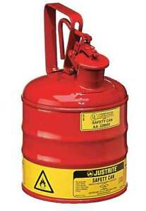 1 Gal Red Galvanized Steel Type I Safety Can For Flammables Justrite 10301