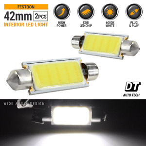 2x Cob Led Map Dome Interior Light Bulbs 6000k White 42 Mm Festoon