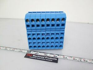 Lot Of 8 Wago 283 674 Terminal Block For 24 8awg Wire Blue Din Rail Mountable