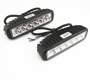 2 X Offroad Driving Fog Working 6 Led Roof Bar Spotlight Lamp For Pickup Suv 4x4