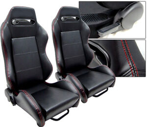1 Pair Black Leather Red Stitch Racing Seats Reclinable All Honda