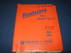 Koehring 505 1b Hydraulic Excavator Parts Catalog Book Manual