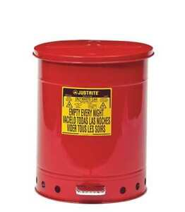 Oily Waste Can 14 Gal steel red Justrite 09500