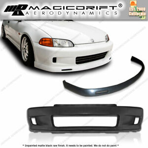 For 92 95 Honda Civic 2dr Wc White Crow Ek Style Front Bumper Bys Chin Lip
