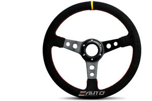 Nrg 350mm 13 8 Suede Steering Wheel 3 Deep Dish Black Stitch Yellow Center