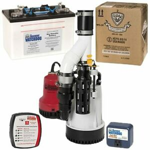 Basement Watchdog 1 3 Hp Combination Primary And Backup Sump Pumps W Battery