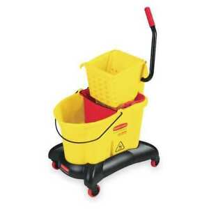 Rubbermaid Fg768000yel Mop Bucket And Wringer 35 Qt Side Press