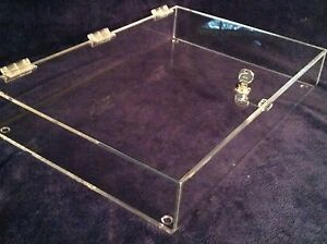 Locking Security Display Case Acrylic Counter Top 23 5 Wide X 18 Deep X 3 High