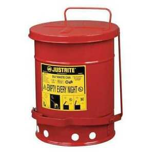 Oily Waste Can 6 Gal steel red Justrite 09100