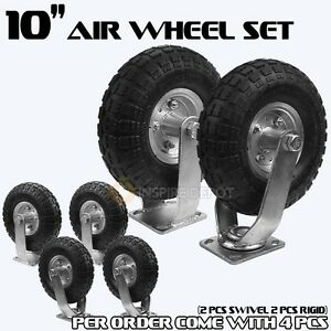 4pcs 10 Air Tire Pneumatic 2 Swivel Caster 2 Rigid Wheels Cart Industrial Hd