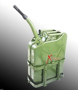 5 Gallon Jerry Can Gas Fuel Steel Tank Green Military Nato Style 20l W Holder