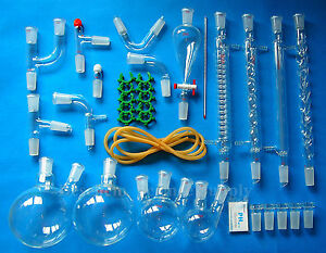 24 29 35pcs new Advanced Organic Chemistry Glassware Kit laboratory Glass Unit