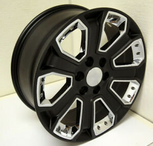 20 Satin Black And Chrome Wheels For Chevy Silverado Tahoe Suburban