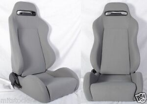 New 2 Gray Cloth Racing Seats Reclinable Sliders All Pontiac
