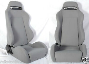New 2 Gray Cloth Racing Seats Reclinable Sliders Fit For Subaru