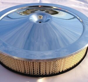 Chevrolet Corvette Chrome Air Cleaner Top Lid Base Diagonal Filter Sbc Bbc Silk