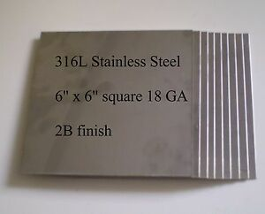 Hho 6 x6 18ga 316l Stainless Steel Plates Qty 10