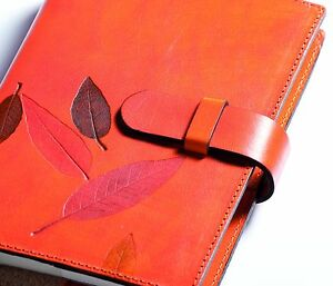 Weekly Organizer Leccio Refillable Leather Cover mandarin 5 X 7 5 Inch