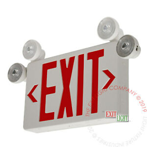 Led Exit Sign Emergency Light Red Compact Combo Fire Safety Ul924 Combocr