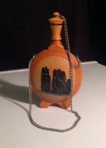 Wooden Canteen Hand Painted Scenery Signed Meteopa Or Scenery Of Meteora