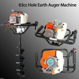 63cc 3hp One Man Gas Power Head Hole Earth Auger Machine W 6 And 10 Bits