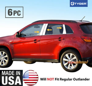 Fits 2014 2018 Mitsubishi Outlander Sport 6pc Stainless Steel Pillar Post Trim